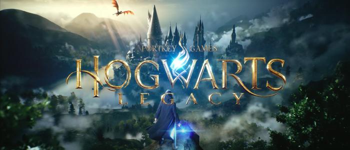 Hogwarts Legacy Game plaatje met kasteel en draak op de achtegrond.