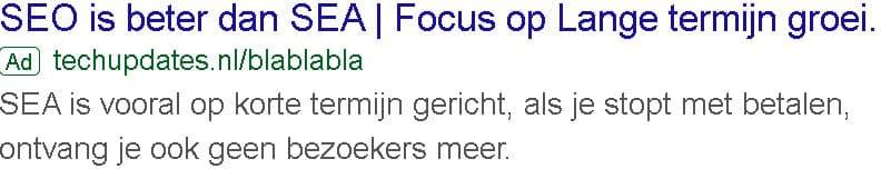 Google advertentie waarom SEO beter is dan SEA 2